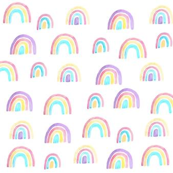 Образец красочных нарисованных радуг