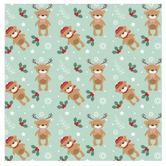 Pattern of cute bear for christmas concept