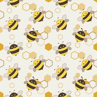 かわいい蜂とハニカムのパターン