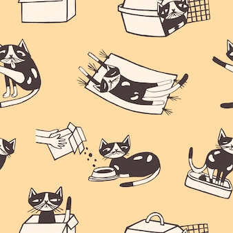 黄色の背景にさまざまなポーズでかわいい漫画のペット動物のパターン