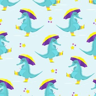 우산 평면 벡터 일러스트와 함께 고무 장화에 귀여운 악어의 패턴