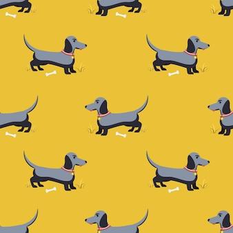 귀여운 닥스훈트 강아지의 패턴입니다. 평면 벡터 일러스트 레이 션.