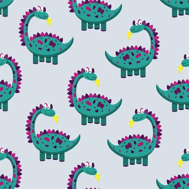 かわいい恐竜のパターン。ベクトルイラスト。