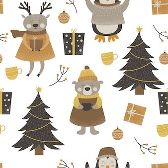 귀여운 숲 동물 메리 크리스마스의 패턴