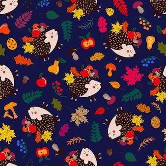 Узор из милых ежиков среди осенних листьев и фруктов с грибами на синем фоне