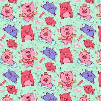 心と兆候とかわいい豚のパターン