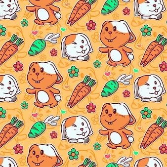 귀여운 토끼와 당근의 패턴
