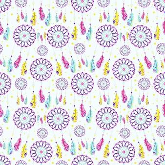Выкройка ловцов снов с перьями в стиле бохо. векторные иллюстрации.