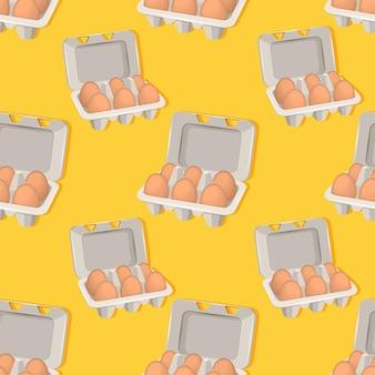 黄色の背景のボックス内の卵のパターン。ベクトルイラスト。