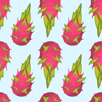 이국적인 열대 용 과일의 패턴입니다.