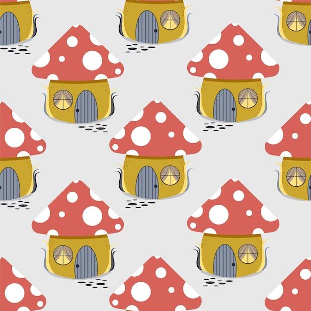 집의 형태로 멋진 버섯의 패턴.