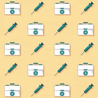 Образец аптечки первой помощи и шприцы анимированные
