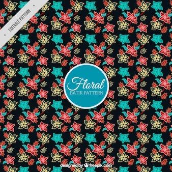 손으로 그린 색된 꽃의 패턴
