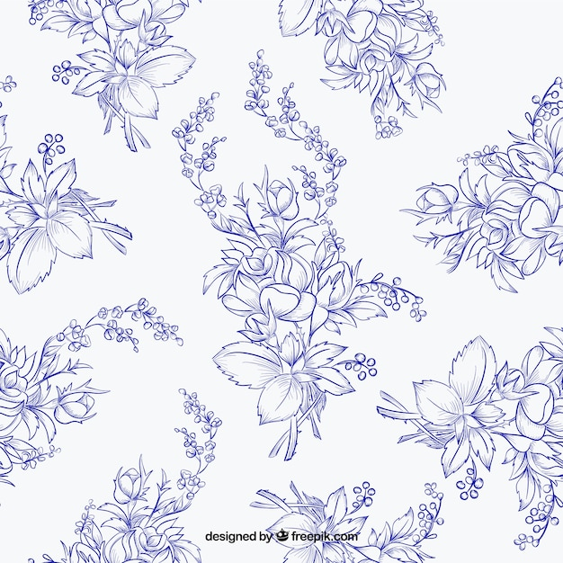 Pattern of hand drawn flowers in blue color
