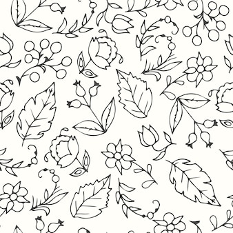 Pattern of hand drawn leaves and flowers