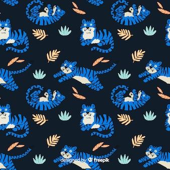 手描きの虎のパターン 無料ベクター