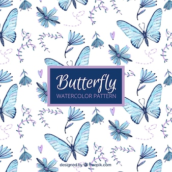 Pattern of hand painted butterflies and flowers