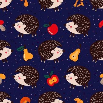 Узор из ежиков и фруктов с грибами на синем фоне