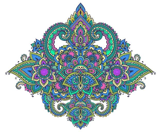 伝統的なアジアの装飾品に基づいたヘナの花の要素のパターン。ペイズリー一時的な刺青