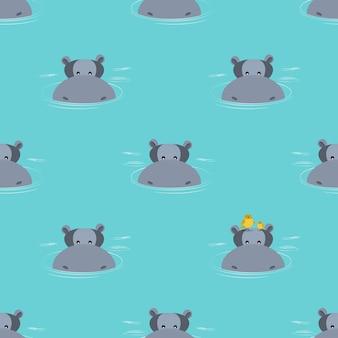 水から出てくるカバのパターン。ベクトルイラスト。