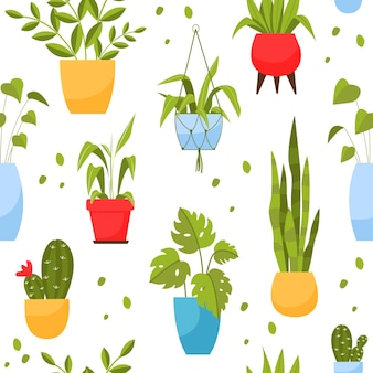 냄비 만화 스타일의 집 식물의 패턴