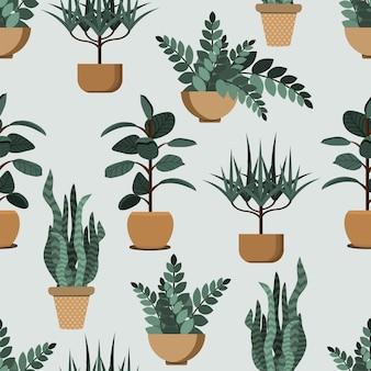 家の屋内植物、緑の背景の鉢植えのコレクションのパターン。