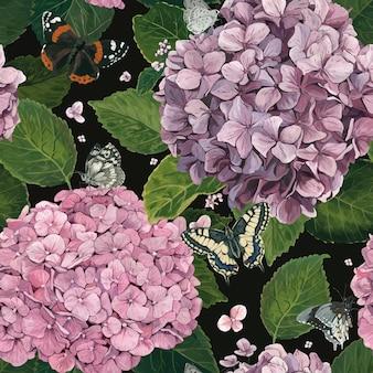 Узор из гортензии с бабочками