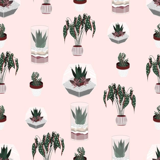 観葉植物のフラットカラーのパターン