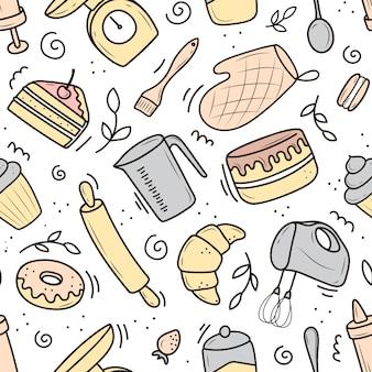 キッチンアイテムのパターン。デザートやペストリーの調理。漫画風イラスト