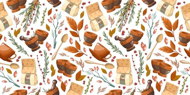 乳鉢と紙袋の薬草のパターン
