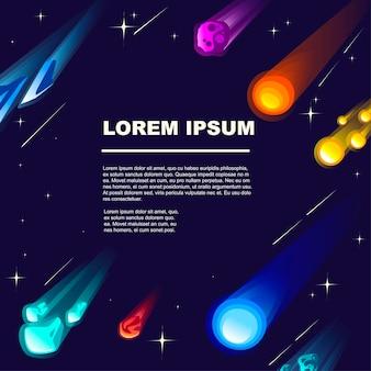 우주 공간에 다양한 색상과 모양 벡터 삽화가 있는 유성과 혜성의 패턴