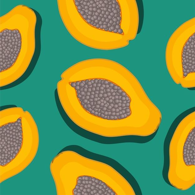 Узор из фруктов папайи в плоском стиле
