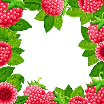 ラズベリーのパターン。緑の葉とラズベリーのイラスト。装飾的なポスター、エンブレム天然物、ファーマーズマーケットのイラスト