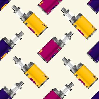 현실적인 전자 담배의 패턴입니다. vaping을위한 최신 장치. 벡터 일러스트 레이 션.