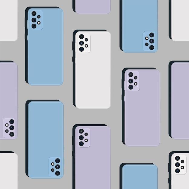 背面図とリアルなスマートフォンのパターン。