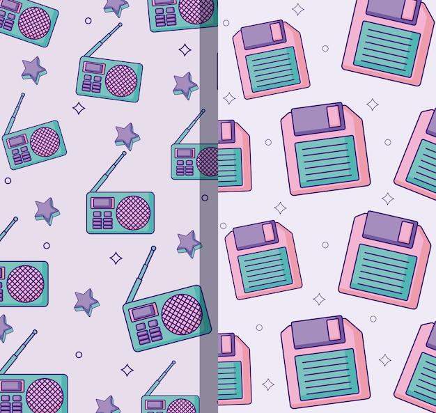 レトロラジオとカセットのパターン