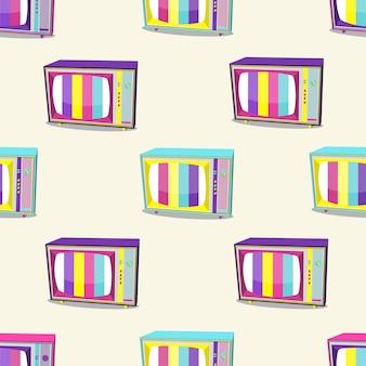 白い背景で隔離の明るい色のレトロなテレビ90のパターン。ベクトルイラスト。