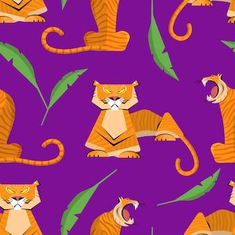포효 호랑이의 패턴입니다. 2022의 상징입니다. 평면 벡터 일러스트 레이 션.