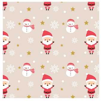 Pattern of santa claus and snowman
