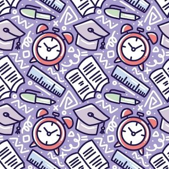 학교 시간 손 아이콘 및 디자인 요소 그리기 패턴