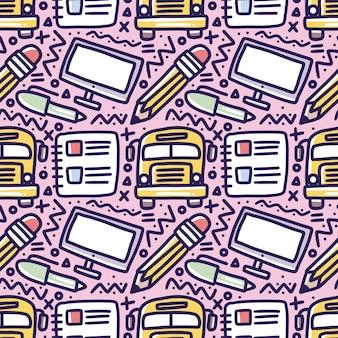 Рисунок руки школьного времени с иконами и элементами дизайна