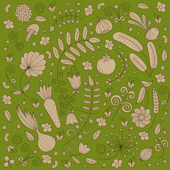 野菜、キノコ、花とのシームレスな背景のパターン