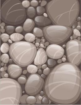 滑らかな石や小石のパターンフラットベクトルイラスト垂直チラシデザイン