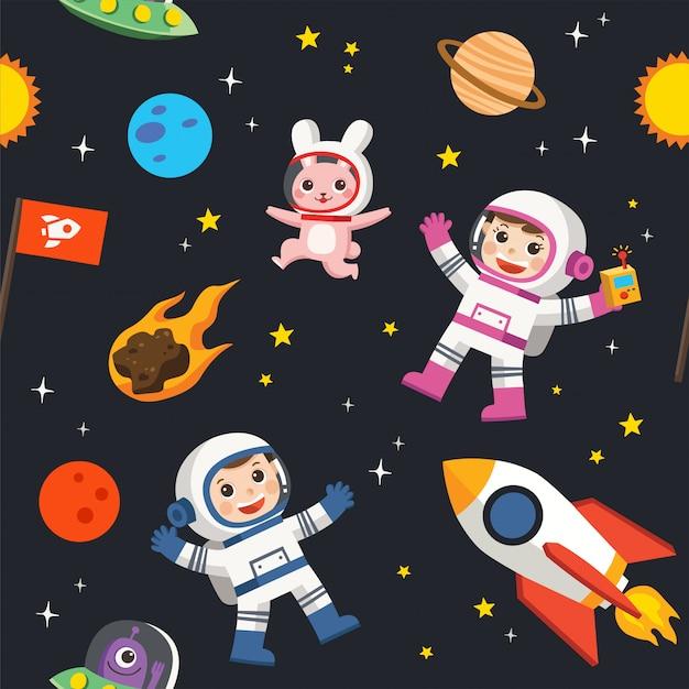 공간의 패턴. 공간 요소. 행성 지구, 태양과 은하, 우주선과 별, 달과 작은 아이 우주 비행사, 패턴 일러스트.