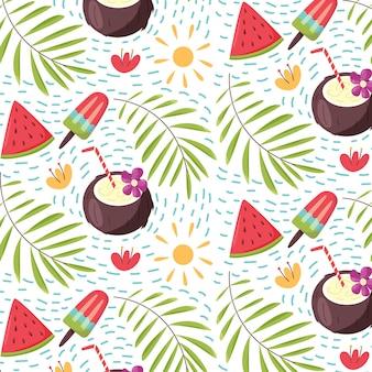 여름 열 대 잎 아이스크림 코코넛 수 박의 패턴 원활한 벡터 배경