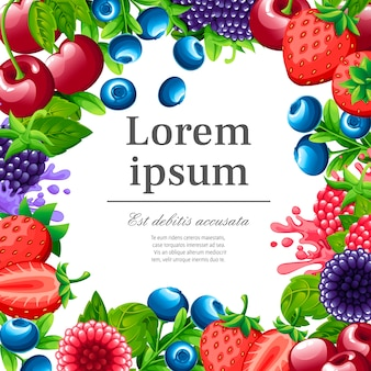 甘い果実のパターン。イチゴ、チェリー、ラズベリー、ブラックベリー、ブルーベリーのイラスト。緑の葉と果実。装飾的なポスターのイラスト。あなたのテキストのための場所。
