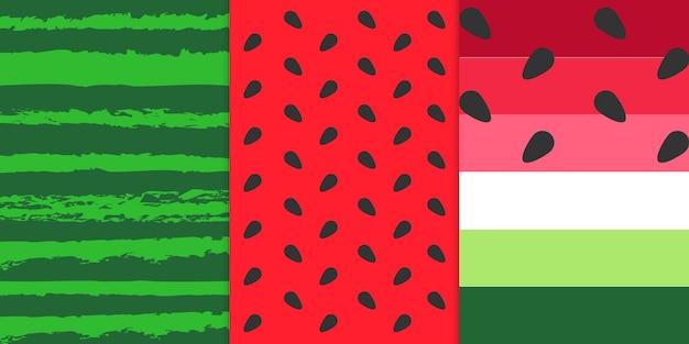 Узор из сладких сочных кусочков арбуза современный модный минималистский узор бесплатно премиум векторы