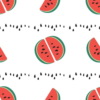 달콤한 육즙 조각 수박의 패턴, 씨앗 벡터 배경이 있는 수박 조각. 수박을 사용한 현대적인 트렌디한 반복 패턴