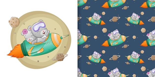 Рисунок медведя-брата использует ракету в космос