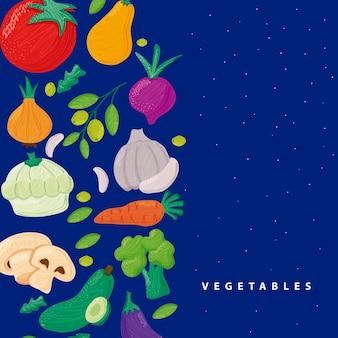 파란색 배경 그림에서 야채 건강 식품의 패턴